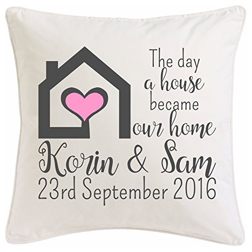 New house Cushion ~ the day a house became our home ~ New home present ~ First house gift ~ Personalised cushion housewarming gift Home owner present