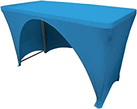 مفرش LA Linen من الألياف اللدنة بظهر مفتوح لطاولة مستطيلة بطول 1.2 متر 4-Foot Table 1PKOB48Lx30Wx30HSpndxTurquoiseX52