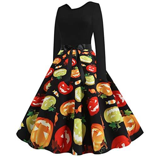 URSING Damen Retro Kleid Mode Frauen Rundhals Elegant Casual Drucken Partykleid Dress Großes Kleid Festival Abendkleid 50er Jahre Petticoat Kleider Rockabilly Kleider Cocktailkleider
