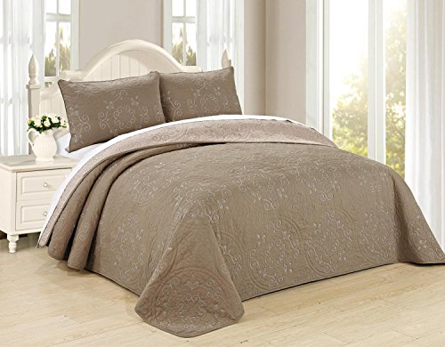 All American Collection New Circle Reversible Embroidered Bedspread/Quilt Set (King Size - 3PC, Taupe)