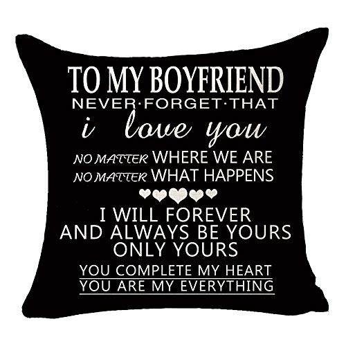 """Black to My Boyfriend Be Yours and Only Yours You're My Everything Valentine's Day Birthday Gift Cotton Linen Square Throw Pillow Case Decorative Cushion Cover Pillowcase Sofa 18""""x 18"""""""