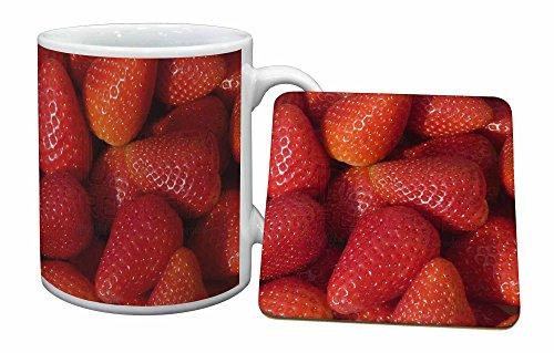 Advanta - Mug Coaster Set Erdbeeren drucken Becher und Untersetzer Tier Geschenk