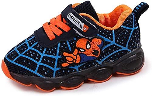 Spiderman Entrenadores, Luz LED Zapatos para niños, Easy Velcro Close Luminoso Zapatillas de Deporte Trainers Boys Girls Bebies Best Gift Cumpleaños Halloween Navidad (Color : Blue, Size : 29EU)