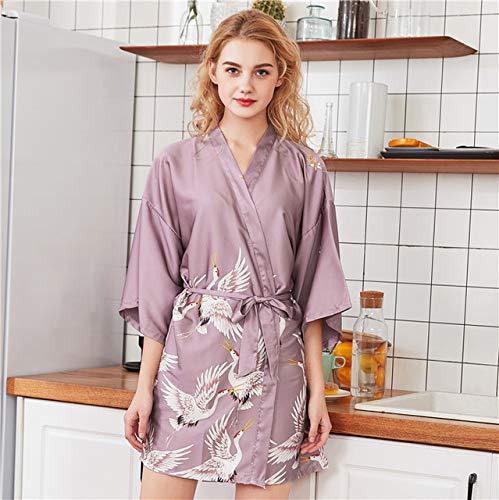 IAMZHL Albornoz Kimono de satén Negro de Verano Mujeres Novia Dama de Honor Vestido de Bata de Boda Vestido Flor Sexy Ropa de Dormir Larga-Short Robe 5-5-XL