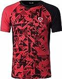 jeansian Hombre Sport Dry Fit Deportiva tee Shirt Tshirt T-Shirt Manga Corta Tenis Golf Bowling Camisetas LSL193 Red S
