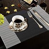 YOLOKE 6er Set Platzsets,waschbar rutschfeste Wärmedämmung gewebt Vinyl Tischsets für Küche Esstisch Tischsets 30x45cm (grau) - 6