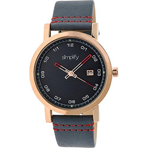 Simplifique SIM5305 - Reloj The 5300, oro rosa, cuero auténtico azul, unisex, de cuarzo con fecha