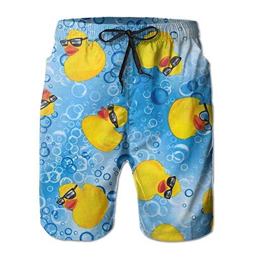 ZQHRS Coole kleine gelbe Ente Herren Sommerferien schnell trocknende Badehose Strand Shorts Board Shorts Größe XL
