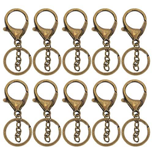Llavero de 10 piezas, accesorios para llaves artesanales de cuero de bricolaje vintage, retro de aleación que no se desvanece para llaves de pulseras(Bronze)