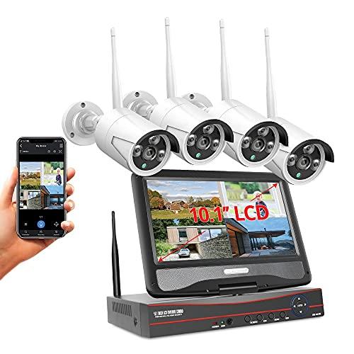 MWEIMA Expansible 8ch Sistema De Cámara De Seguridad Inalámbrica con 4pcs 1536p Cámaras,Audio De Dos Vías,IP66 Impermeable,Visión Nocturna,7x24 Monitoreo En Tiempo Real (Size : Standard Kit)