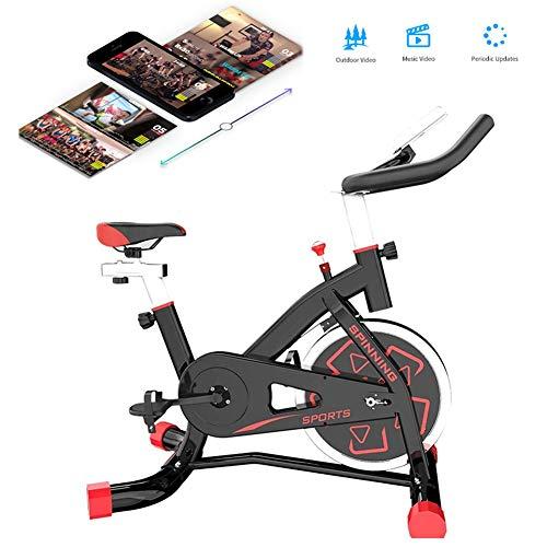 LCYZ Bicicleta Ciclismo Spinning para Interiores, Estacionaria Inteligente Bicicleta Estática Cómodo Cojín Asiento, Volante Pesado, Asiento Manillar Ajustables, Control Aplicación
