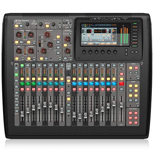 BEHRINGER, X-32 COMPACT 40-Input 25-Bus Digital Mixing Console with 16 Programmable Midas Preamps Black, (X32COMPACT)