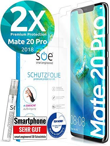 [2 Stück] 3D Schutzfolien kompatibel mit Huawei Mate 20 Pro - [Made in Germany - TÜV Nord] - HD Bildschirmschutz-Folie - Hüllenfre&lich – Transparent – kein Schutz-Glas sondern Panzer-Folie TPU