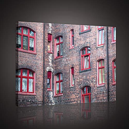 Forwall Leinwandbild Canvas Fenster Ziegel – Backstein Rot modern Wandbilder Bild Kunstdruck Wanddekoration PP10504O1 100cm x 75cm