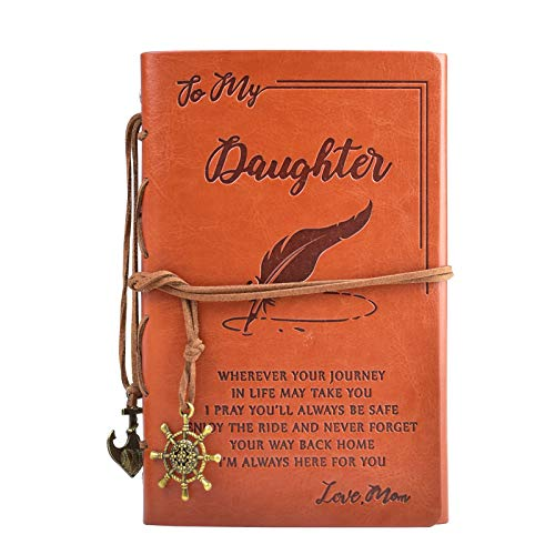 To My Daughter Classic Spiral Bound Leather Journal,Daughter Gift from Mom,Refillable,5'' x 7.2″Writing Notebook Medieval Vintage Style 180 Page Travel Diary Art Sketchbook Gift for Girls,Blank Paper