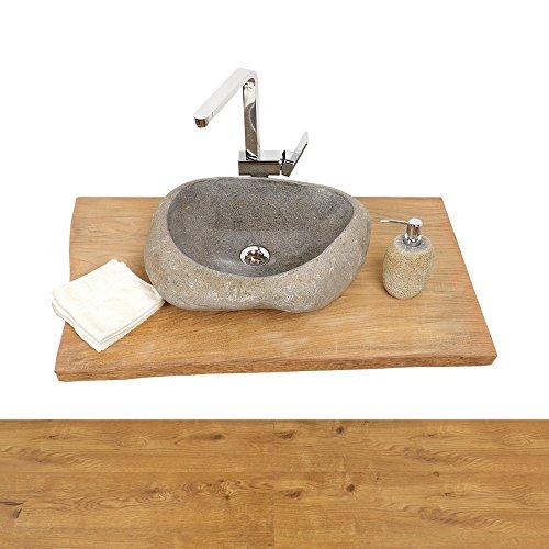 wohnfreuden Teakhouten wastafelplaat voor natuurstenen wastafel ✓ houten plaat voor wastafel ✓ antiek teakhout uitgedroogd ✓ onderbouw maat L 100 cm