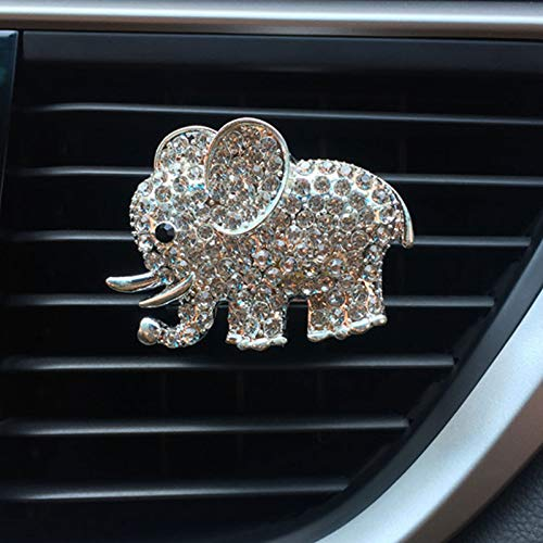 JALII Auto Diamond Elephant Car Air Conditioning Outlet Clip Decorative Car Air Vent Clip Charm, Bling Car Accessories, Car Interior Decoration Charm, Cute Car Decor (Silver)
