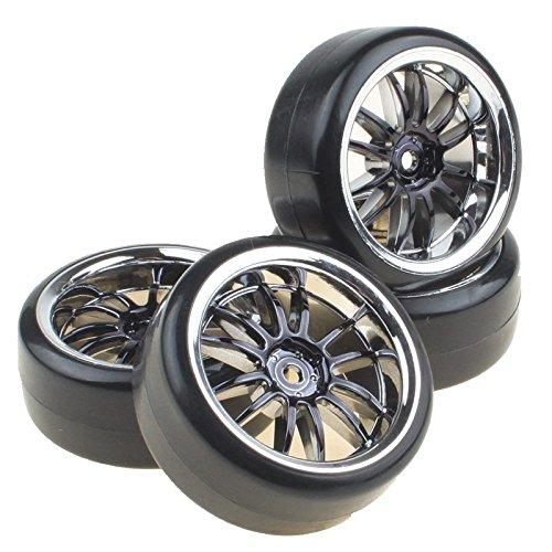 Shaluoman Plating 12-Spoke Wheel Rims with Hard Plastic Tires for RC 1:10 Drift Car Color Black