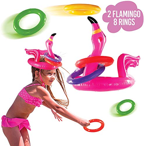 Top Race Outdoor Kids Flamingo Ring Throwing Games, Juguetes inflables para Piscinas, Juegos para Piscinas, Accesorios para Piscinas para niños 3,4,5,6,7,8 y Familia - Juguetes para Piscinas