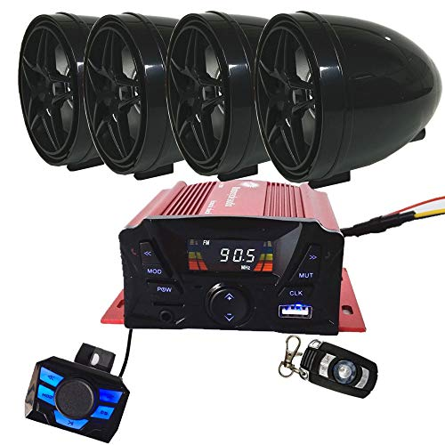 12V 4 Channel UTV ATV Golf Cart Motorcycle Weatherproof Bluetooth Speakers MP3 Music Player Sound Audio Stereo Amplifier System AUX in USB SD FM Radio