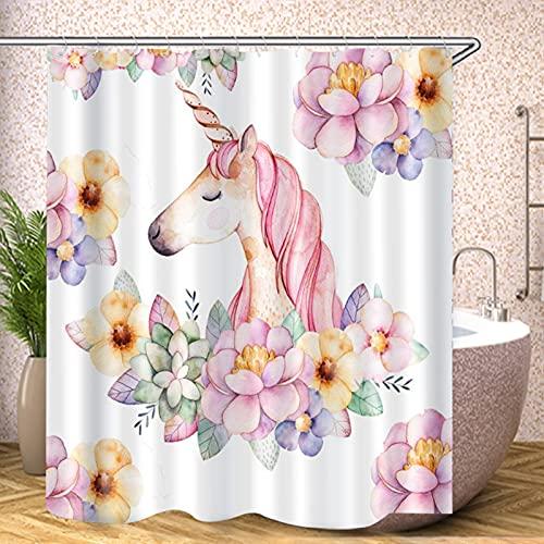 Fgolphd Einhorn Duschvorhang 120x200 180x200180x180 200x240 Bunt Pink Blau Textil Badezimmerteppich 4-teiliges Set,Shower Curtains Waschbar (180 x 180 cm,12)