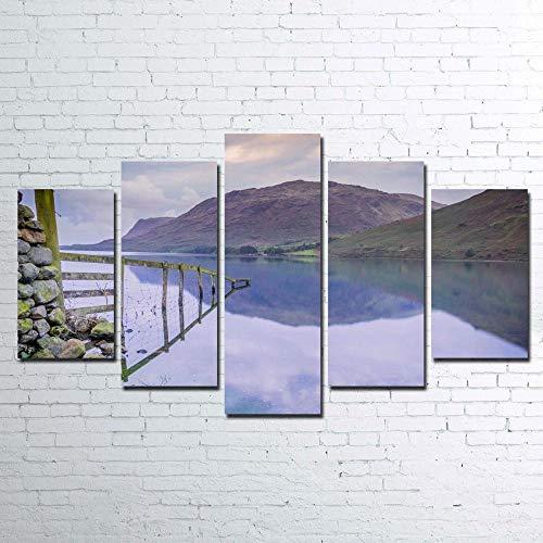 Decoración 5 Paneles Pintura Mural Impresa Paisaje de valla reflejada Cuadro sobre Lienzo 5 Piezas Modernos Mural Arte Fotos Salon Dormitorio Decoracion Pared 5 Piezas Mural