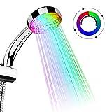 TankerStreet Alcachofa de Ducha Led Cabeza de Ducha 7 Colores Automático Cambia de Color Luz Cambiantes Handheld Mano Sensor Grifo Seguro Hermoso Práctico Boquilla de Baño Decoración 26,3x9,2x6,5cm