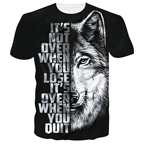 chicolife Lustiges T-Shirt für Männer Rundhalsausschnitt 3D Grafik Bequeme T-Shirts Tops Lässig Teen Wolf Kurzarm für den Sommer XXL