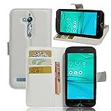 Tasche für Asus ZenFone Go ZB500KL (5.0 zoll) Hülle, Ycloud PU Ledertasche Flip Cover Wallet Hülle Handyhülle mit Stand Function Credit Card Slots Bookstyle Purse Design weiß