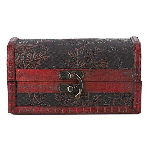 Caja de madera vintage duradera y respetuosa con el medio ambiente, impresión en cuero de PU, exquisita caja de joyería hecha a mano, para guardar el alambre de los auriculares, guardar