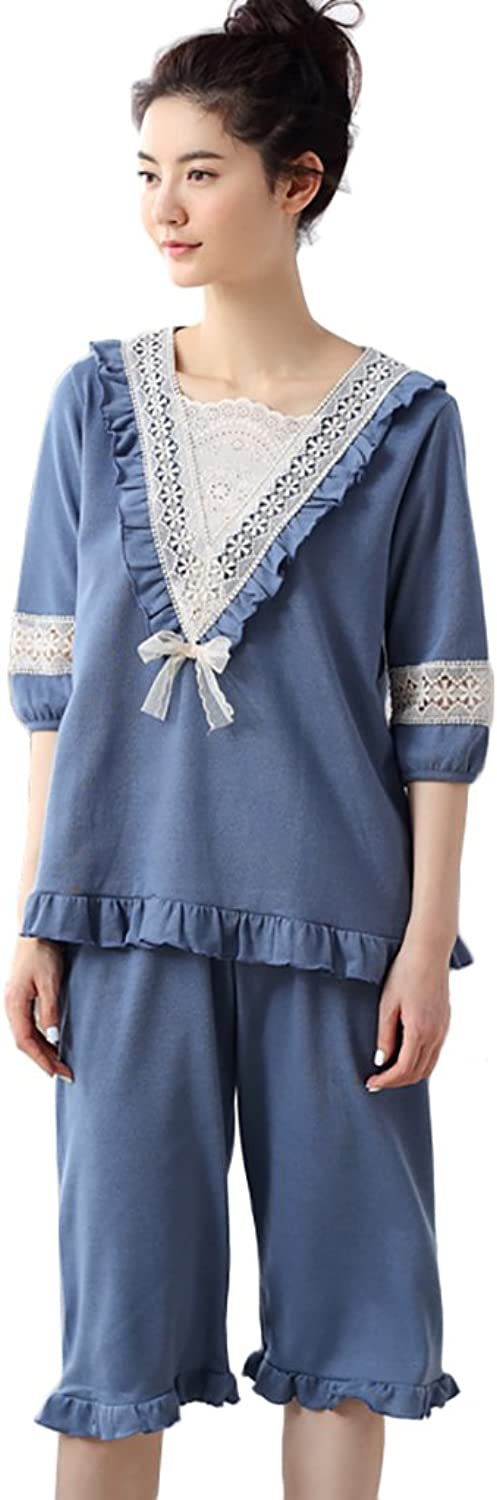 Pure Cotton pajamas fashion Tshirt short pants Two pieces set sweet home clothing summer ( color   bluee , Size   L )