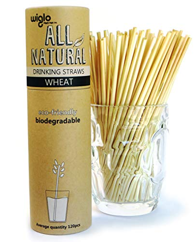 All Natural Wheat Drinking Straws - 120 x 8 inch - Nature's Hay Straw - Disposable, Organic, Biodegradable, Compostable, Eco-Friendly, Sustainable. The Attractive Alternative to Plastic.