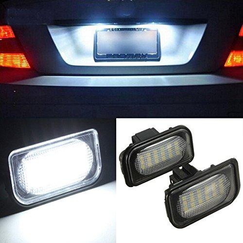 MASUNN Une Paire de 18 LED Ampoule numéro de Plaque d'immatriculation pour Benz Classe C
