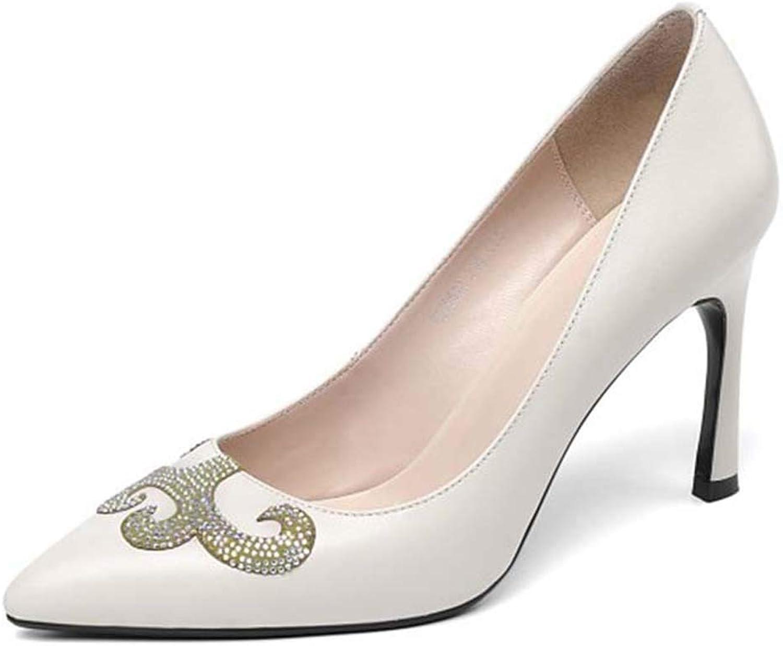 Höga klackar för kvinnor, mode, versatillmå fina fina fina spetsklackar, spetsiga munläder, varma Drirande Single skor  modern