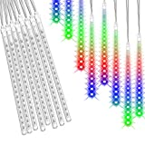 Rain Lights, soled LED Meteor Shower Rain Lights 11.8 inch 8 Tubes,Outdoor Waterproof Drop Icicle Snow Falling Raindrop Cascading String Lights for Party Wedding Christmas Tree Decoration(Multi Color)