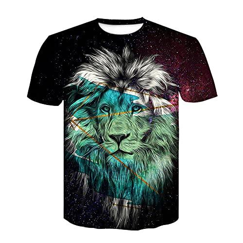 Animal Lion Camiseta para Hombre con Estampado en 3D, Camisetas Informales de Verano de Secado rápido, Novedad, Camiseta de Manga Corta-XL