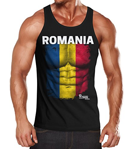 MoonWorks EM Tanktop Herren Fußball Rumänien Romania Flagge Fanshirt Waschbrettbauch Muskelshirt schwarz S