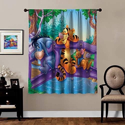 Victoria Anime Blackout Curtains,Eeyore Tigger Winnie The Pooh, Rod Pocket Thermal Insulated Darkening Window Drapes for Bedroom, Cute Animal Boys Girls Room Décor, 1 Panels,72x63 inch