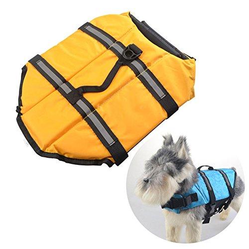 Zhang-Home Chalecos Salvavidas de los Perros, Chaleco Salvavidas del ahorrador del Animal doméstico, Chaleco Flotante del Perro, Chaleco Salvavidas Exterior del Perro, S (Amarillo)