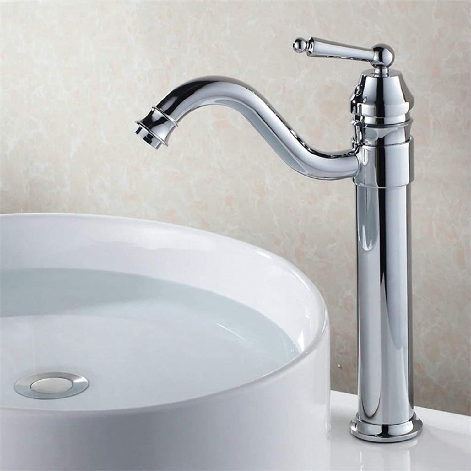 ZHFJGKR&ZL Single Hole Deck Mounted Ceramic Plate Spool Brass Thin Tall Basin Bathroom Faucet