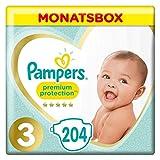 Pampers - Protección Premium - Pañales Talla 3 (6-10 / 5-9 kg) - Paquete de 1 mes (x204...