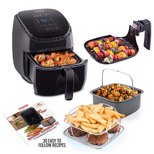 NUWAVE BRIO 3-Quart Digital Air Fryer cooking package with one-touch digital controls, 6 easy presets, precise temperature control, recipe book, wattage control, and advanced functions like PREHEAT, REHEAT and more, also includes grill pan, non-stick baking pan and stainless-steel cooking rack (3-Quart + Ultimate Kit)