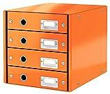 Leitz Click & Store Cassettiere, 4 cassetti, Cartone plastificato, 28.6 x 28.2 x 35.8 cm, Arancione, 60490044