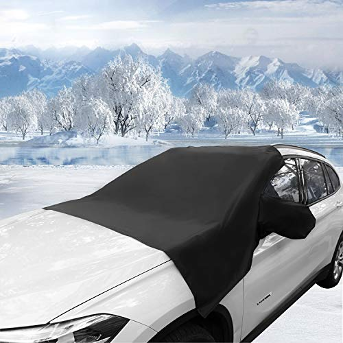 Windshield Snow Cover?and Sun Shade Protector All Weather Winter Summer for Cars Trucks Vans SUVs?Non Scratch Magnetic Keep Your Vehicle Exterior Ice & Snow Free and Clean