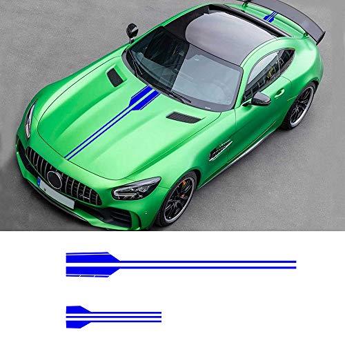Auto Seitenstreifen Seitenaufkleber Aufkleber für BEZN AMG A C E G Class Concept Coupe CLS Rennstreifen Racing Decals Viperstreifen Blau 2 Stück