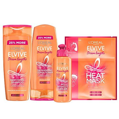 L'Oreal Elvive Dream Lengths Long Hair Keratin Shampoo, Conditioner, No Cut Hair Cream & Heat Mask Set