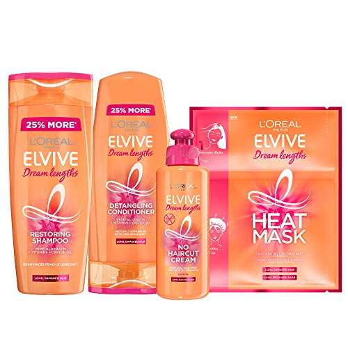 L'Oreal Elvive Dream Lengths Long Hair Keratin Shampoo, Conditioner, No Cut Hair Cream & Heat Mask Set