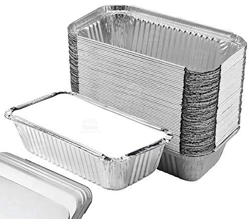 55 Pack – Loaf Pans with Lids, Aluminum Loaf Pans, Bread Pans, Meatloaf Pans l Cake Pan, Foil Loaf Pans, Disposable Aluminum l Tin Pans, 650 ml capacity – Size 7.8''x4.3''x2'' by Spare Essentials