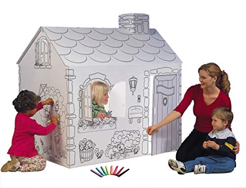 My Very Own House Cardboard Coloring Playhouse Cottage, 49'H...