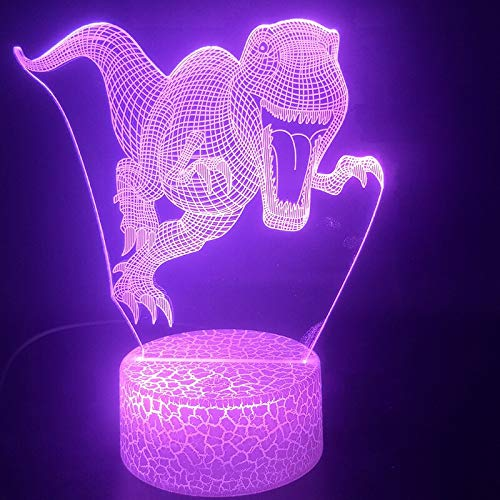 Regalo hecho a mano conmemorativo de cumpleaños Luz 3D Tyrannosaurus Rex Dinosaurio Animal para el mejor sensor táctil USB LED Productos para bebés Luz nocturna